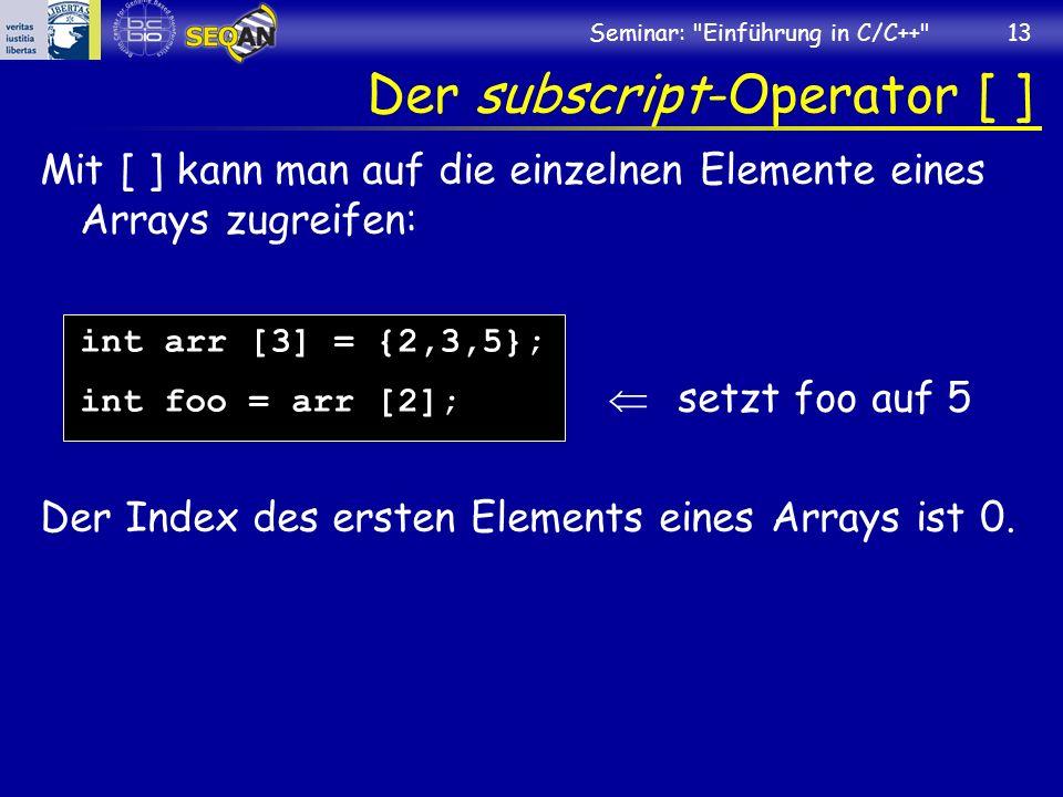 Der subscript-Operator [ ]